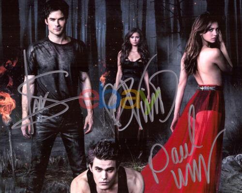 Vampire Diaries Cast signed 8x10 autograph COA photo Nina Dobrev Ian Somerhalder
