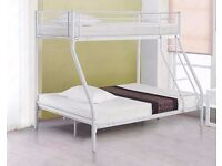 ** 10 DAYS MONEY BACK GUARANTY ** SINGLE TOP DOUBLE BOTTOM METAL BUNK BED FRAME WITH MATTRESS -CALL