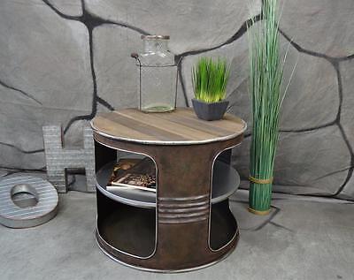 Couchtisch Beistelltisch Metall Ölfass Vintage Industrie Look LOFT Shabby LV5022 ()