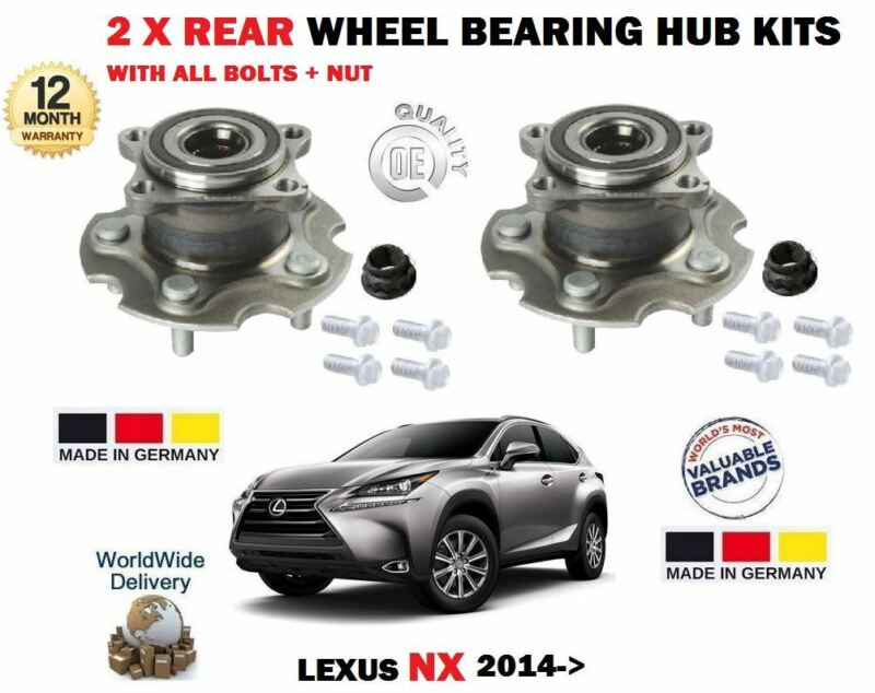 FOR LEXUS NX 200T 2.0 300H 2.5 HYBRID 2014-> 2 X REAR WHEEL BEARING HUB KITS
