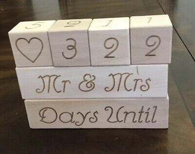 Wedding Countdown Calendar Wooden Blocks Unique Engagement Gift For Couples New