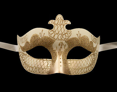 Mask Venetian Colombine Cream and Gold Evening Party 1st Price 1285 V76