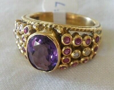 Solid 18k Yellow Gold Amethyst Pink Sapphire Diamond Ring - 7.9 grms, Size 6.75 Amethyst Pink Sapphire Ring