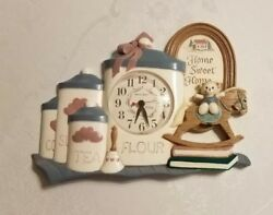 Vintage 1993 Burwood Home Sweet Home Rocking Horse Kitchen Canister Wall Clock