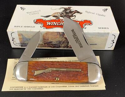 """97`Winchester 29110 1/2 Rifle Shield Burnt Orange Bone, Sunfish Knife 4 1/2"""""""