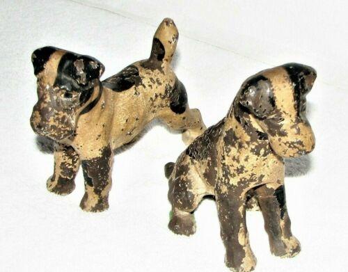 pr antique TERRIER PUPPY dog cast iron doorstop figures w original paint Hubley?