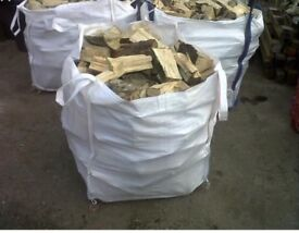 3x1ton bulk bags of barn dried seasoned hardwood firewood logs with free delivery and stacking £135