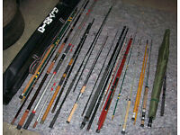 Fishing gear assortment , 12 rods plus various other stuff
