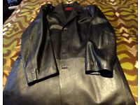 Black Leather coat size XXL approx 48inch chest