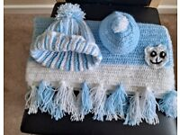 NEW Baby Wool Blanket & 2 Hats with pom-poms 0-3 month & 6-12 months Baby Blue Hand Crafted.