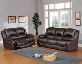 New Brown Leather 3+2 Fully reclinning Suite. ***Free Delivery