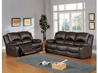 New Brown Leather 3+2 Fully reclinning Suite. Delivery Available
