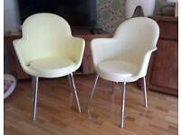 Designer Bucket Chairs 2 Available. Cream & Vanilla. Chrome. Italian.