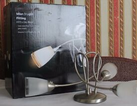 MILAN 3 BULB CEILING LIGHT, GLASS SHADE , BRAND NEW BOXED UP SATIN NICKEL