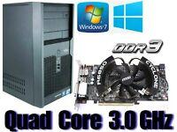 Gaming PC, QUAD CORE 3.0GHz, HD6850 GDDR5 , 4GB Ram,320GB HD