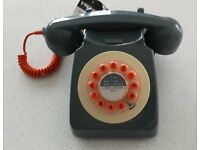 Wild & Wolf 746 1960s Design Classic Corded Telephone, Concrete Gray – Unused