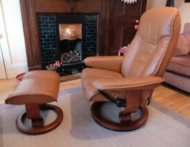 Ekornes Stressless Leather Recliner With Footstool