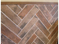 Brick effect porcelain ceramic tiles - 1 complete unused box, to cover approx. .75 sq.metre