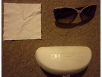 Black Diesel sunglasses/shades with Diesel cloth cleaner in Diesel case