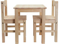 BRAND NEW SOLID PINE TABLE AND 2 CHAIRS