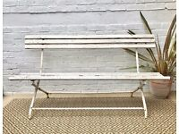 Vintage Antique White Folding Garden Bench