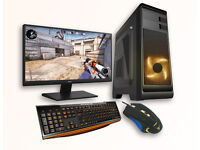 Gaming PC Monitor 1080p Bundle LED Keyboard & Mouse GTX 1050 GPU Intel Quad 8GB Ram 4 Yr Warranty