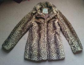 Faux fur coat size 10