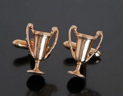 Vtg Trophy Cup Award Achievement Winner Medal Cuff Links Gold Tone Metal Golf ()