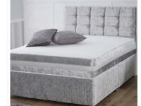 Double bed silver crushed velvet.