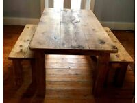 Bespoke Canadian Oak Dining Table and Bench Seats