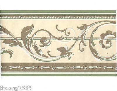 Metallic Scroll Wallpaper (Sage Green Cream Metallic Gold Shiny Acanthus Leaf Scroll Bead Wall paper Border)