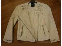 Zara Ladies Stud Cream Bikes Faux Leather Jacket L