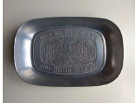 Vintage Bread Plate Tray - Give Us This Day Our Daily Bread - Wilton Armetale - Pewter / Aluminium