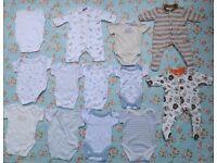 Newborn baby 7lb-8lb babygrow bodysuit boys bundle, 13 items, good condition