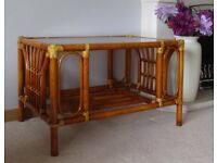 Large cane glass top coffee table