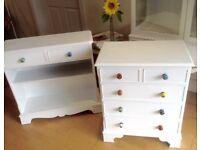 Nursery furniture set small drawers and shelves storage white polka dot knobs