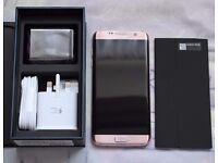 Samsung Galaxy S7 Edge - Pink Gold - Pristine Boxed - Unlocked, not tied to a contract