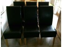 *BARGAIN!* GENUINE LEATHER CHOCOLATE BROWN DINING CHAIRS WITH SOLID OAK LEGS