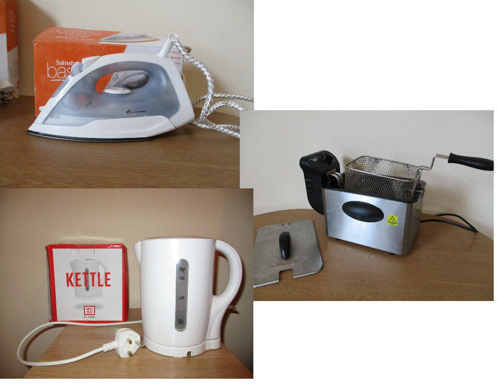 New Steam Iron, Kettle and Fryer! very good conditions and fantastic price, only 5 pounds!