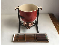 Le Creuset Fondue Cherry Red with Stand, Forks and Copper Burner.