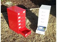 IKEA Six Drawer Storage Unit on Castors - Red or Cream