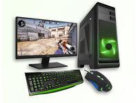 Gaming Desktop PC Monitor 1080p Bundle LED Keyboard & Mouse GTX 1050 Intel Quad 8GB Ram Green LED