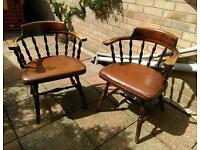 Pair of kitchen dining room arm chairs captions smokers bow style