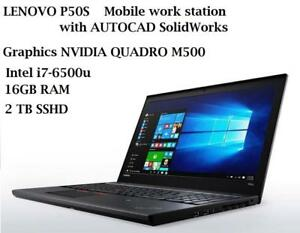 LENOVO thinkpad P50S 15.6'' IPS Warranty May 2021,Intel Quad i7-6500u 3.1GHZ, 16GB 2TB SSHD,NVIDIA QUADRO M500M +AUTOCAD