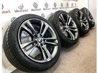 GENUINE BMW 3/4 SERIES M SPORT ALLOY WHEELS & TYRES - 5 X 112 - SHADOW CHROME