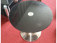 Modern round Coffee Table black glass and chrome leg for the living room or dining used