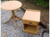 Table and bedside cabinet, heavy solid ..matching pair .