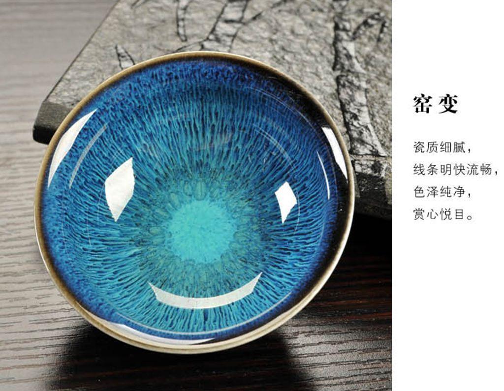 OIL SPOT TENMOKU TEA BOWL Blue peacock JIANZHAN TEA CUP TIANMU