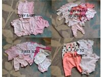 BABY GIRL - TINY BABY/NEWBORN/FIRST SIZE/1 MONTH CLOTHES BUNDLE