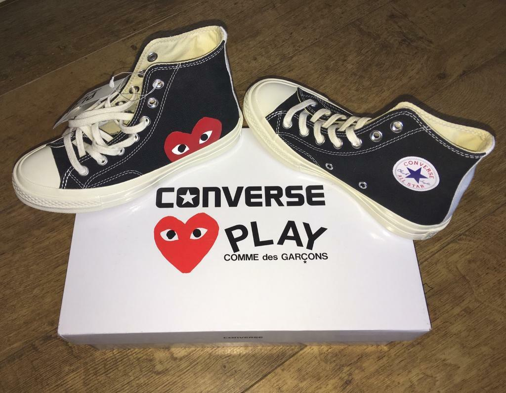 Comme Des Garcons Play X Converse Chuck Taylor All Star Black Size 4 Womens